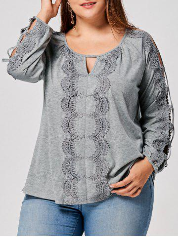 Plus Size Keyhole Cut Out Lace Panel Top - Gray - 5xl