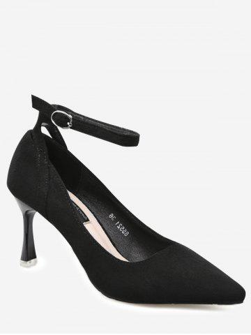 Ankle Strap Pointed Toe Pumps - Black - 39
