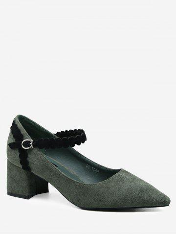 Affordable Block Heel Ankle Wrap Pumps GREEN 39