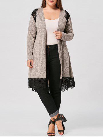Discount Long Sleeve Lace Panel Plus Size Scalloped Cardigan - 4XL COLORMIX Mobile