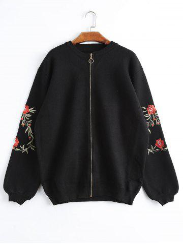 Plus Size Floral Embroidered Zip Up Knitted Coat - Black - Xl