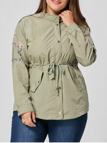 Plus Size Drawstring Waist Floral Embroidered Jacket - Army Green - 3xl