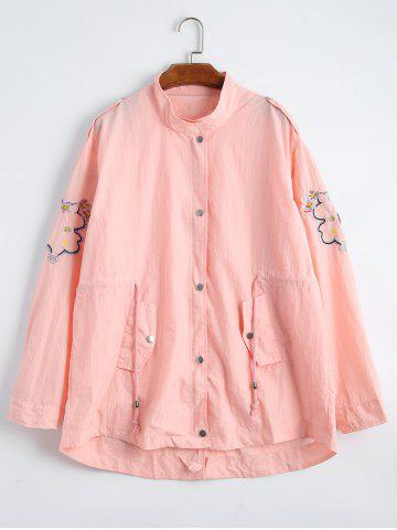 Plus Size Drawstring Waist Floral Embroidered Jacket - Light Pink - Xl