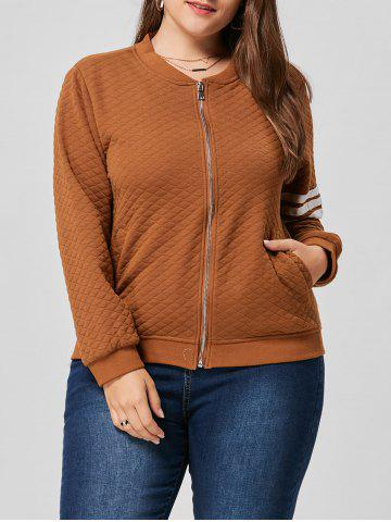 Hot Striped Zip Up Plus Size Jacket BROWN 3XL