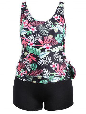 Shops Plus Size Tropical Leaf Floral Print Tankini Set