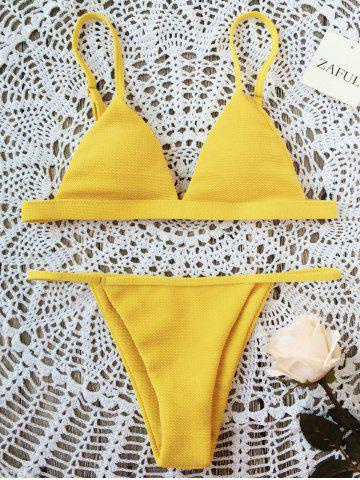 Unique Spaghetti Strap Padded Bikini Set - S YELLOW Mobile