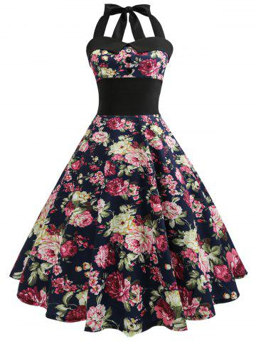 Buy Vintage Halter Floral 50s Swing Dress FLORAL 2XL