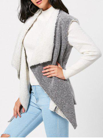 Outfit Faux Fur Embellished Open Front Waistcoat - S GRAY Mobile