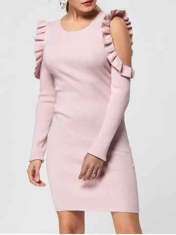 Outfit Frill Trim Cold Shoulder Jumper Dress - M LIGHT PINK Mobile