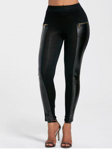 Chic Chic Faux Leather Spliced Zippered Black Leggings For Women