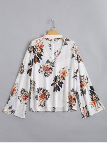 Flare Sleeve Floral Print Choker Blouse