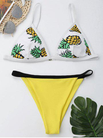 Hot Pineapple Print Spaghetti Strap Bikini Set