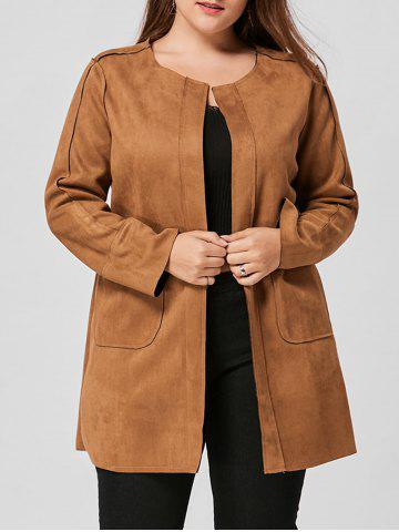 Fashion Faux Suede Open Front Plus Size Coat