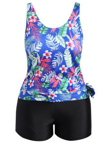 Unique Plus Size Tropical Leaf Floral Print Tankini Set