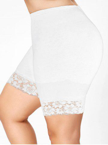 Plus Size Lace Trim Short Leggings - WHITE - 2XL