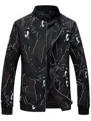 Color Block Abstract Print Jacket