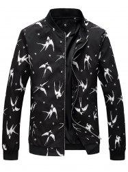 Floral Swallow Print Zip Up Jacket