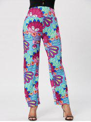 Fashionable Elastic Waist Loose-Fitting Printed Women's Exumas Pants - COLORMIX