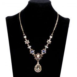 Vintage Faux Gem Insert Waterdrop Necklace