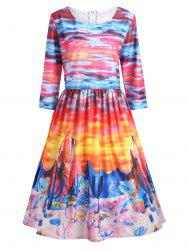 Printed Ombre Plus Size A Line Vintage Dress
