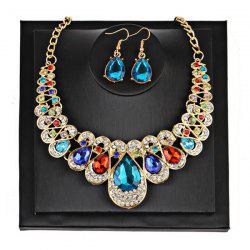 Teardrop Faux Gem Chunky Necklace Suit - COLORMIX