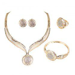 Hollow Out Carve Rhinestone Jewelry Set - GOLDEN