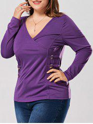Plus Size Metal Buttons Plunging Neck Surplice Top