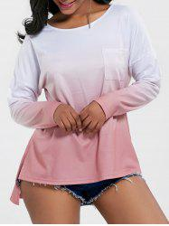Split High Low Ombre Long Sleeve Top