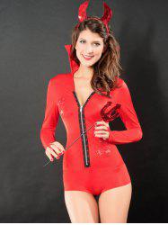 Rhinestoned Devil Cosplay Costume - RED ONE SIZE