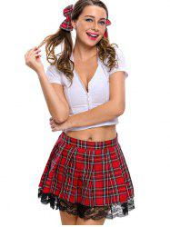 Pleated Checked School Uniform Cosplay Costume
