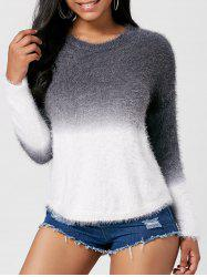 Two Tone Fuzzy Knit Ombre Sweater - GREY AND WHITE ONE SIZE