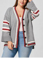 Plus Size Drop Shoulder Striped Cardigan -