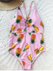 Pineapple Print Criss Cross One-Piece Swimsuit