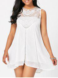Sweet Round Neck White Cut Out Lace Spliced Sundress For Women -