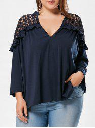 Crochet Panel Plus Size Notch Neck Blouse