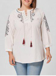 Plus Size Embroidered Lace Up Blouse