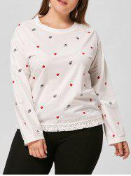 Eye Heart Print Drop Shoulder Plus Size Tee