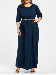 Ruched Plus Size Maxi Party Dress with Belt