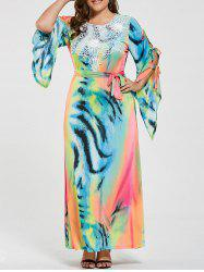 Ombre Printed Slit Sleeve Plus Size Maxi Dress