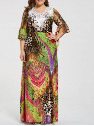 Printed Lace Embellished Ruffled Plus Size Maxi Dress