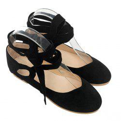 Stack Heel Round Toe Lace Up Flats