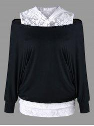 Lace Panel Cold Shoulder Hoodie