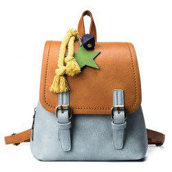 PU Leather Double Buckle Strap Backpack