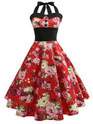 Vintage Halter Floral Print 50s Swing Dress