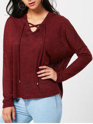Lace Up Drop Shoulder Long Sleeve T-shirt