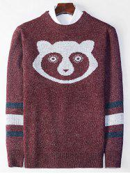 Bear Pattern Crew Neck Stripe Sweater