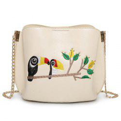 Embroidery Parrot Crossbody Bag