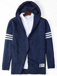 Stripe Star Pattern Hooded Open Cardigan