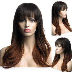 Long Colormix Full Bang Slightly Curly Synthetic Wig