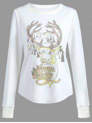 Long Sleeves Deer Print T-shirt